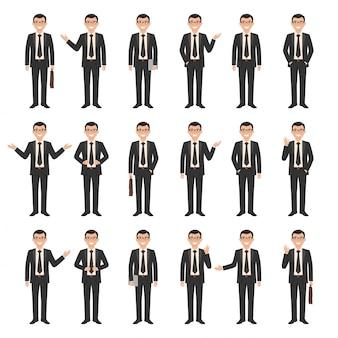 Коллекция молодой мультфильм стиль улыбающегося бизнесмена