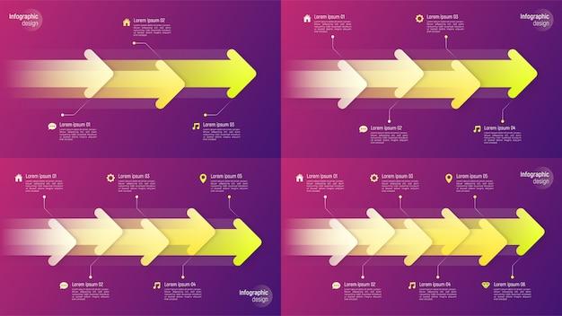 動的な矢印の付いた紙スタイルタイムラインインフォグラフィックの概念