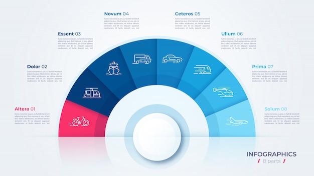 円グラフ、インフォグラフィック、プレゼンテーション、レポート、視覚化を作成するためのモダンなテンプレート