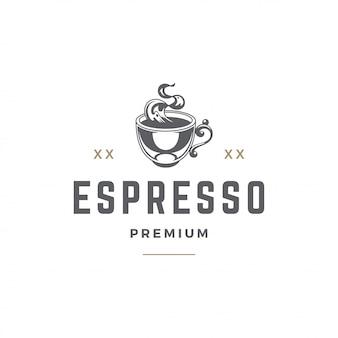 コーヒーまたはティーショップのエンブレムテンプレートカップシルエット