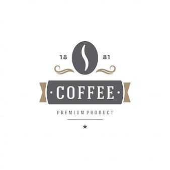 コーヒーショップエンブレムテンプレート豆のシルエット