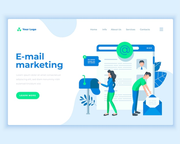 オフィスの人々とランディングページテンプレート電子メールマーケティングの概念。