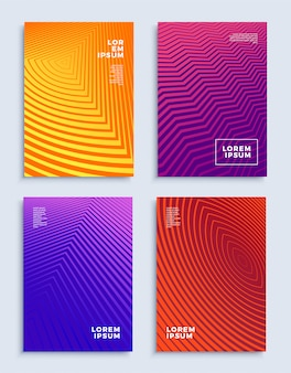 モダンな抽象デザインテンプレートセット未来的な幾何学的構成をカバー