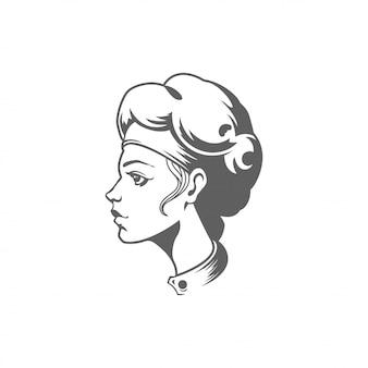 シェフの女性の顔のシルエットベクトル白い背景で隔離の図。