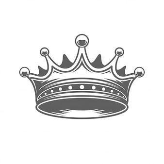王室の王冠のシルエットが白い背景で隔離。