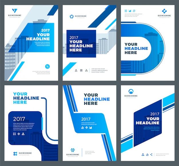 アニュアルレポートデザインテンプレートセットの青いカバー