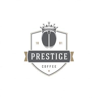 Кофейня логотип шаблон фасоль силуэт с ретро типографии векторные иллюстрации