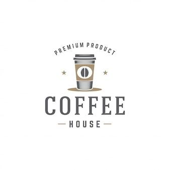 レトロなタイポグラフィのベクトル図と豆のシルエットとコーヒーショップのロゴのテンプレートカップ