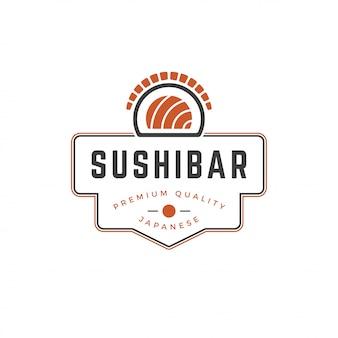 寿司店のロゴのテンプレートサーモンロールシルエットとレトロなタイポグラフィのベクトル図