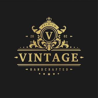 Роскошный логотип дизайн шаблона векторные иллюстрации викторианские виньетки орнаменты.