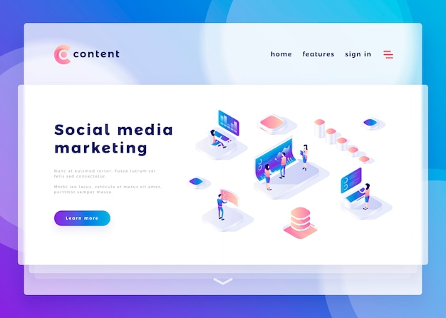 ソーシャルメディアマーケティングオフィスの人々のためのランディングページテンプレートとコンピューターとの対話ベクトルイラスト