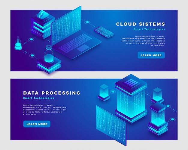 Облачные системы и концепция обработки данных баннер шаблон.