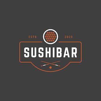 寿司店のロゴのテンプレートサーモンロールシルエットとレトロなタイポグラフィ