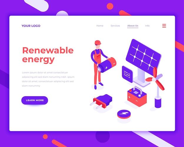再生可能エネルギーの人々と太陽電池パネルとの相互作用