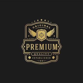 高級ロゴデザインテンプレートベクトルイラストビクトリア朝のビネットロイヤル飾り図形ロゴまたはラベルデザイン。