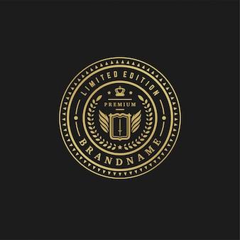 Формы орнамента викторианских виньеток роскошной иллюстрации вектора шаблона дизайна логотипа королевские для дизайна логотипа или ярлыка.