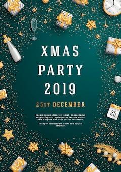 Веселая рождественская вечеринка макет плаката или флаер шаблон.