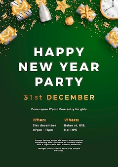 Счастливый новый год партия макет плаката или флаер шаблон.