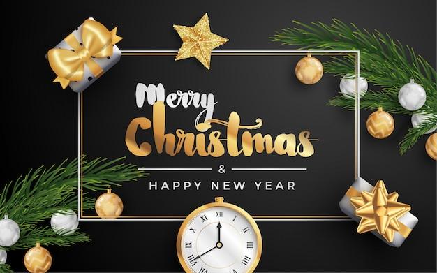 メリークリスマスレイアウトソーシャルメディアバナーまたはチラシテンプレート。