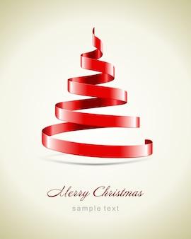 赤いリボンとイラストからのクリスマスツリー