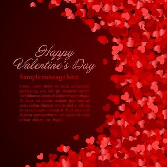バレンタインデーの輝きと紙の心の紙吹雪の願いデザインイラストの場所