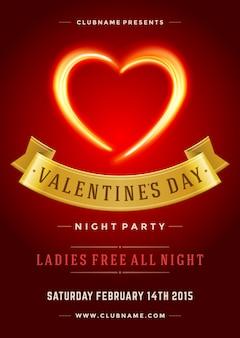 幸せなバレンタインデーパーティーポスターやチラシテンプレートベクトルイラストと燃える炎ハート