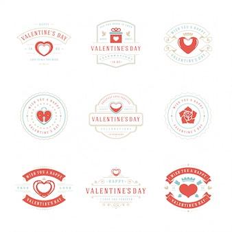 С днем святого валентина поздравительные открытки и значки винтажный дизайн типографика с символикой украшения