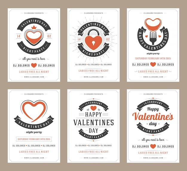 Счастливый день святого валентина партия дизайн плаката набор шаблонов
