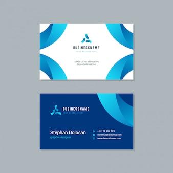 Шаблон визитной карточки модного синего цвета