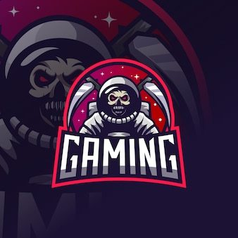 Логотип космонавта черепа киберспорт