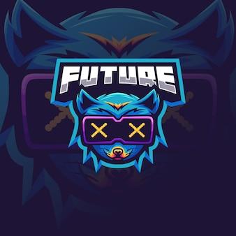Футуристический лиса логотип для киберспорта