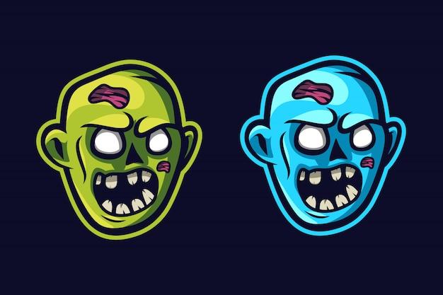 ゾンビの顔のマスコットのロゴ