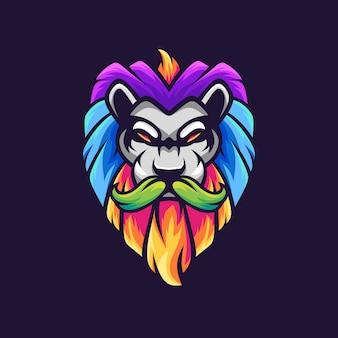 口ひげのカラフルなマスコットのロゴデザインとライオン