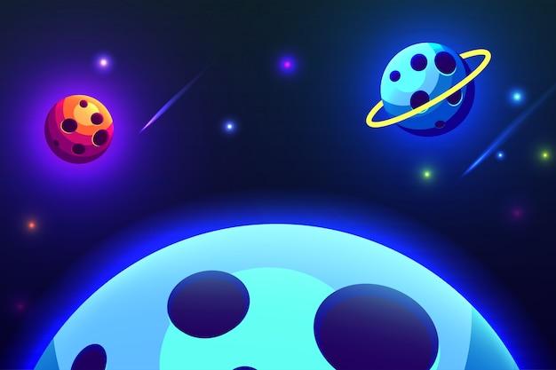 素晴らしい惑星銀河のイラストデザイン
