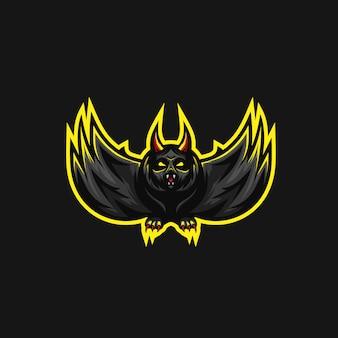 怖いバットプレミアムベクトルのロゴ