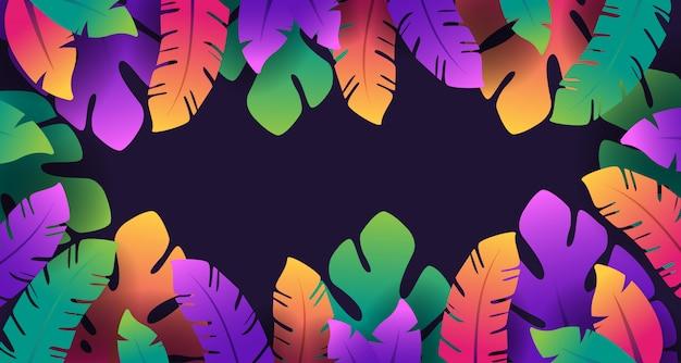カラフルな熱帯の葉の素晴らしい背景デザイン