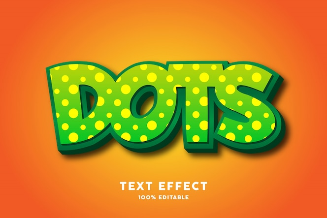 緑のドットの強い太字のテキスト効果、編集可能なテキスト