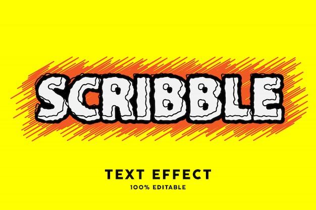 Эффект стиля текста желтого черного каракуля