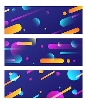 Красочный баннер с тремя жидкими геометрическими наборами