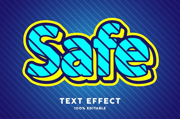 Синий и желтый текстовый эффект в стиле поп-арт