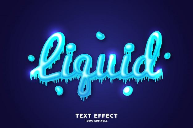 Эффект синего свежего жидкого текста