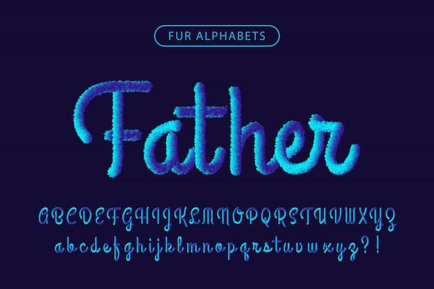 Синий мех реалистичный фирменный шрифт алфавитов