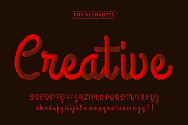 Красный мех реалистичный фирменный шрифт алфавитов