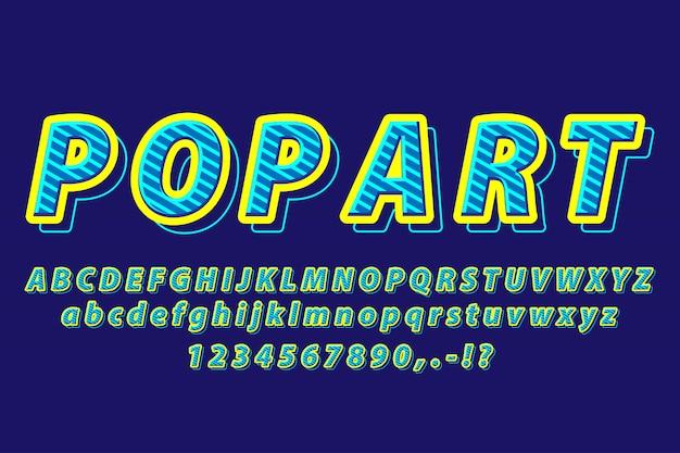 Синий поп-арт современный алфавит текстовый эффект