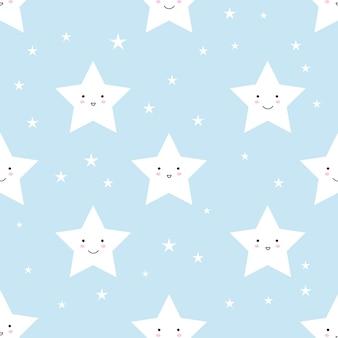 青の背景に星で作られたベクトルパターン。