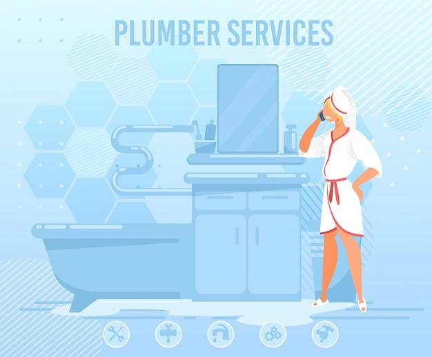 Женщина, звонящая водопроводчику, помогает с плоским баннером