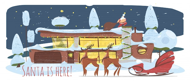 Дед мороз с огромным мешком крадется у крыши дома