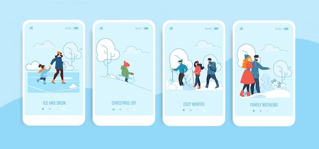Мобильные экраны с семейными зимними развлечениями