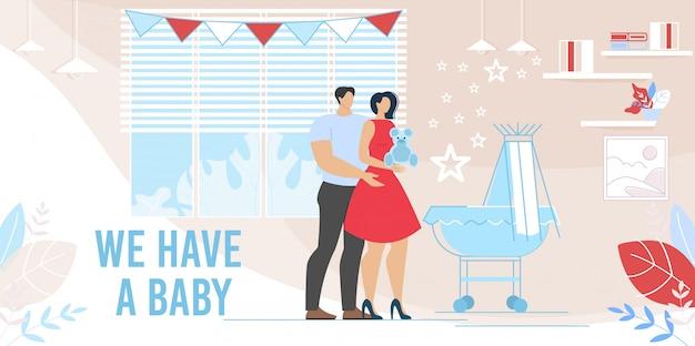 Счастливая молодая пара взять новорожденного ребенка иллюстрации