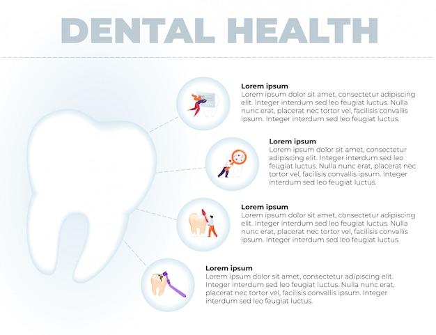 フラットは書かれた歯科健康バナー漫画です。